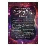 Hipster galaxy outer space birthday party 5x7 paper invitation card