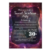 Hipster Galaxy space background Sweet Sixteen Card