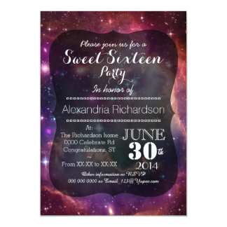 Hipster Galaxy space background Sweet Sixteen 5x7 Paper Invitation Card