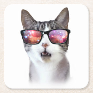"""""""Hipster Galaxy Space Cat"""" LOL Square Coasters"""