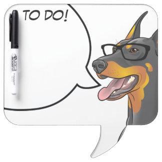 Hipster Geek Doberman Student Memo Comic Dog! Dry-Erase Board