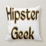 Hipster Geek Green Gold Throw Pillows
