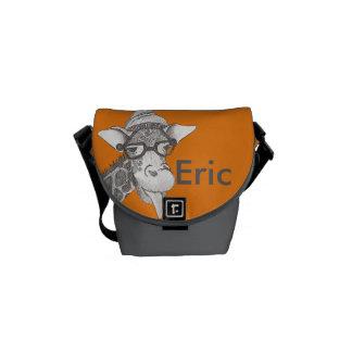 Hipster Giraffe Rickshaw Messenger Bag