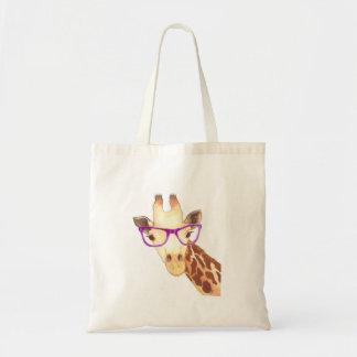 Hipster Giraffe Tote Canvas Bag