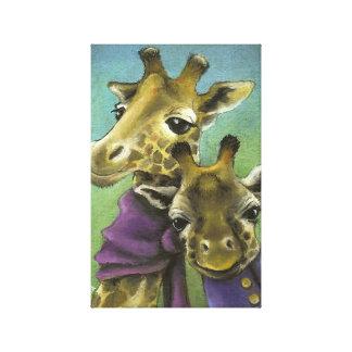 Hipster giraffes canvas print
