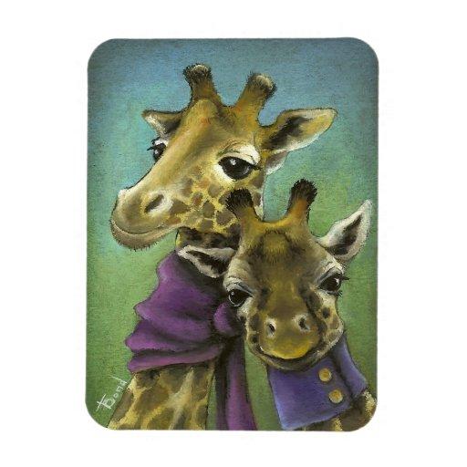 Hipster giraffes rectangular photo magnet