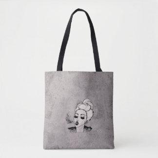 Hipster Girl Blowing Smoke black & white Tote Bag