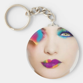 Hipster Girl Colorful eye shadow with Candy Colors Keychain
