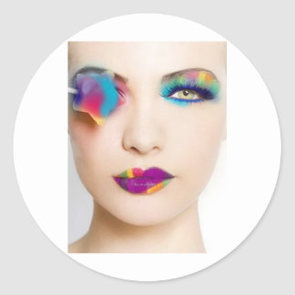 Hipster Girl Colorful eye shadow with Candy Colors Round Stickers
