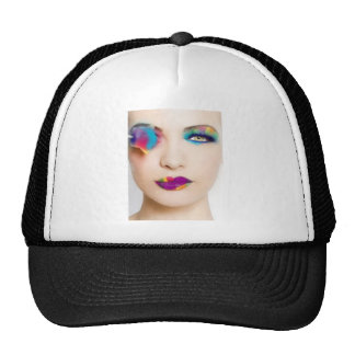 Hipster Girl Colorful eye shadow with Candy Colors Trucker Hat
