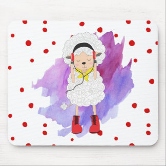 Hipster Girl Lamb with Red Boots Mouse Pad