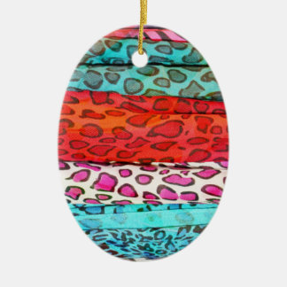 Hipster girly  abstract animal print pattern Double-Sided oval ceramic christmas ornament