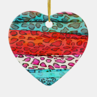 Hipster girly  abstract animal print pattern Double-Sided heart ceramic christmas ornament