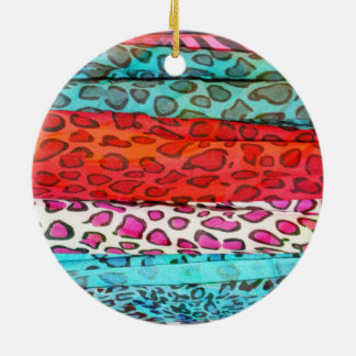 Hipster girly  abstract animal print pattern Double-Sided ceramic round christmas ornament