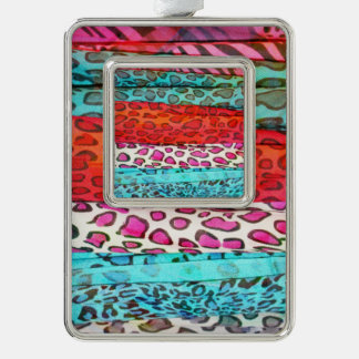 Hipster girly  abstract animal print pattern silver plated framed ornament