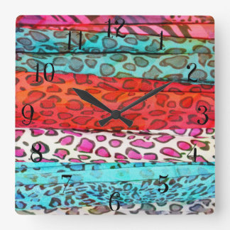Hipster girly  abstract animal print pattern square wall clock