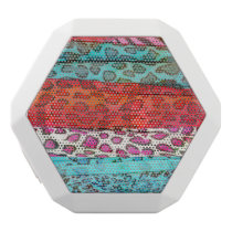 Hipster girly  abstract animal print pattern white bluetooth speaker