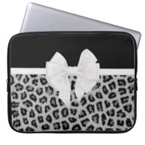 Hipster Girly Black White Animal Print And Bow Computer Sleeve