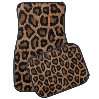 Hipster Girly Brown Black Leopard  Animal Print Car Floor Mat