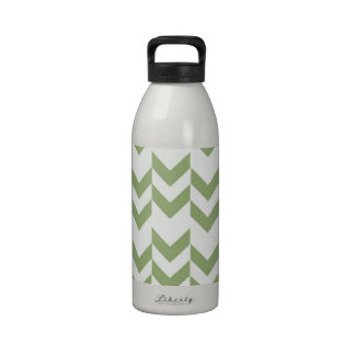 Hipster Girly Green White Zig Zag Chevron Pattern Reusable Water Bottle