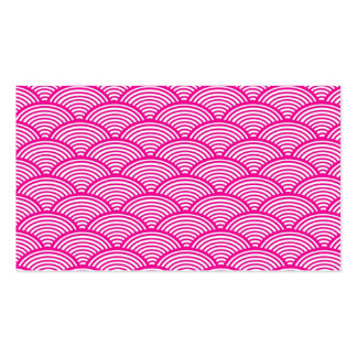 Hipster Girly Pink Japanese Wave Pattern Business Card Template