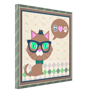 Hipster Glasses Boy Cat Wrapped Canvas Canvas Print