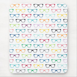 Hipster Glasses Colorful Pattern Mouse Pad