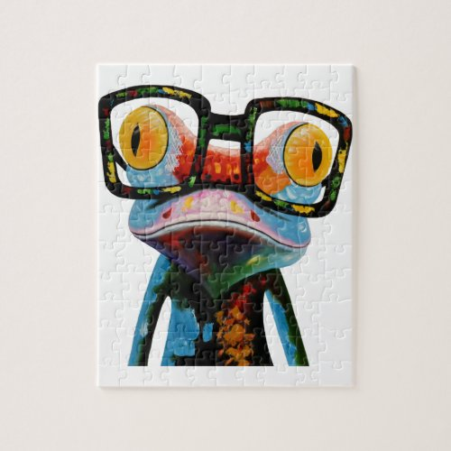 Hipster Glasses Frog Jigsaw Puzzle