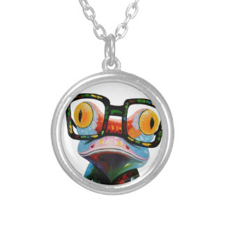 Hipster Glasses Frog Silver Plated Necklace