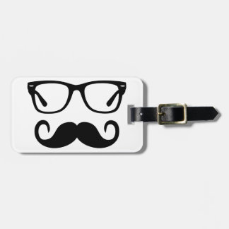 Hipster Glasses & Handlebar Mustache Luggage Tag