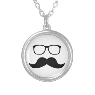 Hipster Glasses Moustache Round Pendant Necklace