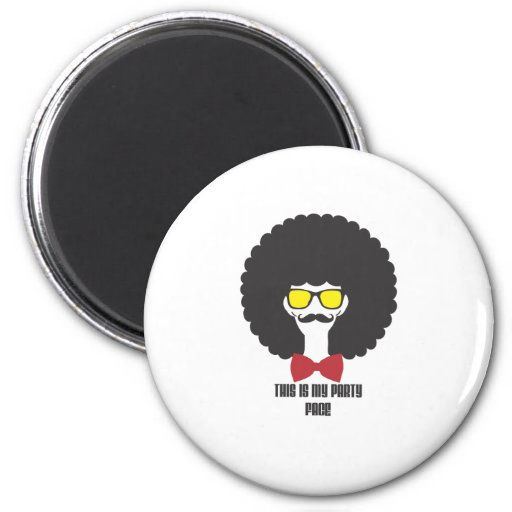 Hipster glasses party face 2 inch round magnet