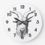 Hipster Goat Large Clock