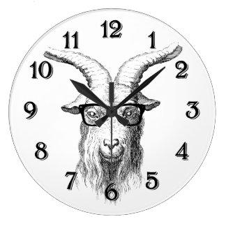 Hipster Goat Large Clock