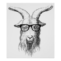 Hipster Goat Poster