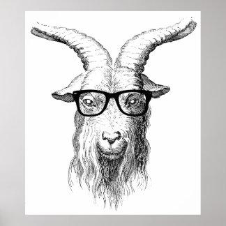 Hipster Goat Poster