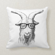 Hipster Goat Throw Pillow