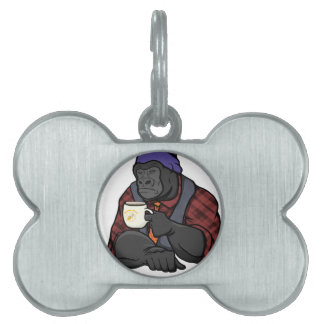 Hipster Gorilla Pet ID Tag