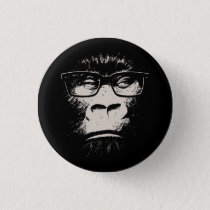 Hipster Gorilla With Glasses Button