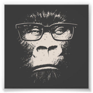 Hipster Gorilla With Glasses Photographic Print