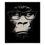 Hipster Gorilla With Glasses Poster