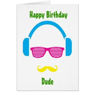 Hipster guy greeting card