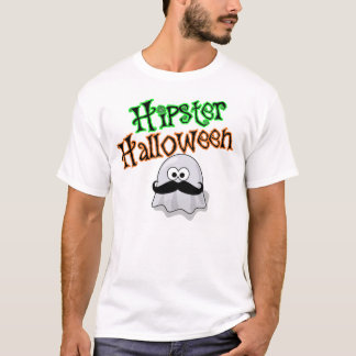 Hipster Halloween, Ghost With Mustache T-Shirt