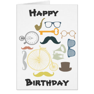 Hipster Happy Birthday Greeting Card