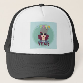 hipster happy new year trucker hat