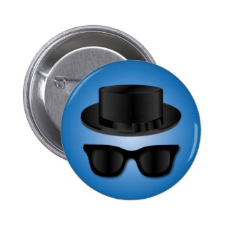 Hipster Hat and Glasses Pinback Button