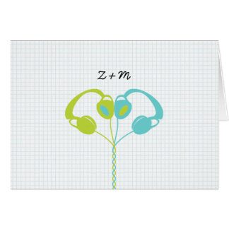 Hipster Headphones (Lime/Sky) Wedding Thank You Cards