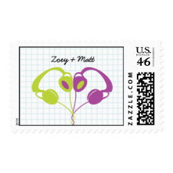 Hipster Headphones (Purple/Lime) Save the Date stamp