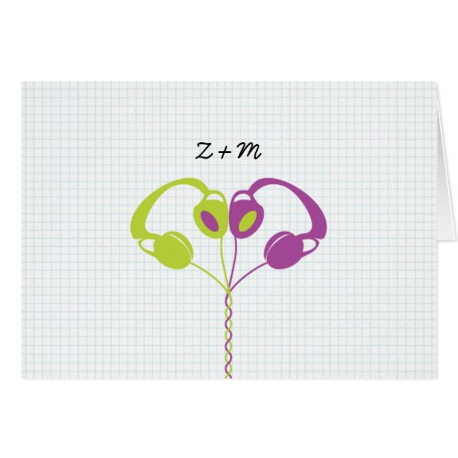 Hipster Headphones (Purple/Lime) Wedding Thank You Stationery Note Card