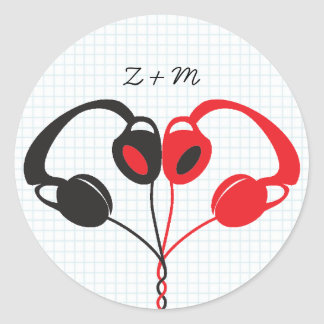 Hipster Headphones (Red / Black) Envelope Seal Classic Round Sticker